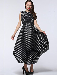 Women's Plus Size Casual/Daily Simple Chiffon Swing Dress,Polka Dot Round Neck Maxi Sleeveless Polyester Black Spring Summer High Rise