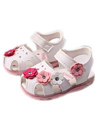 Mädchen Baby Sandalen Komfort PU Frühling Sommer Herbst Normal Komfort Applikation Flacher Absatz Weiß Blau Rosa Flach