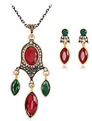 Jewelry Set Gemstone Resin Rhinestone Gold Plated Simulated Diamond Alloy Vintage Bohemian Jewelry Red Green Blue Jewelry setParty