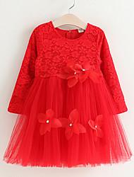 Девичий Платье Хлопок Однотонный Весна Осень Длинный рукав