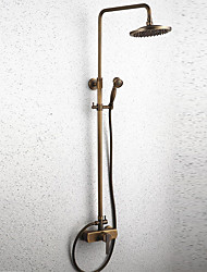 Antique Shower System Rain Shower Widespread with  Ceramic Valve Single Handle Two Holes for  Antique Brass , Shower Faucet