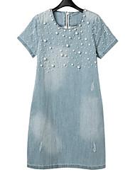 Damen Tunika Kleid-Lässig/Alltäglich Einfach Solide Rundhalsausschnitt Übers Knie Kurzarm Blau Leinen Frühling Sommer Mittlere Hüfthöhe