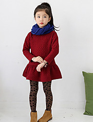 Girl's Solid Dress,Cotton Fall Long Sleeve