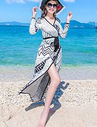 Women's Beach Holiday Boho Shift Dress Striped Bow Split V Neck Maxi Long Sleeve  Blue Summer Mid Rise Micro-elastic