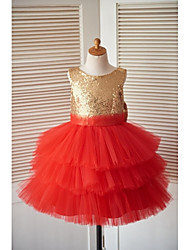 A-line Knee-length Flower Girl Dress - Tulle Sequined Scoop with Bow(s) Sequins