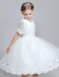 Vestido de baile vestido de flor vestido de flor - organza manga curta gola de jóia com beading