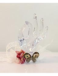 Fleurs de mariage Noué à la main Forme libre Petit bouquet de fleurs au poignet Mariage La Fête / soirée Dentelle Strass 37cm