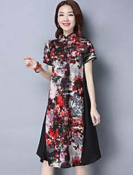 longa seção de moda retro melhorou vestido cheongsam 2017 novo verão de tecido mulheres magras