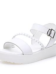 Sandalen-Lässig-PU-Flacher Absatz-Komfort-Weiß Silber