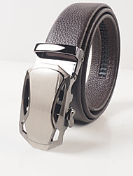Men's fashion leisure coffee head layer cowhide litchi grain automatic buckle belts transformers agio with body is about 3.6 cm wide