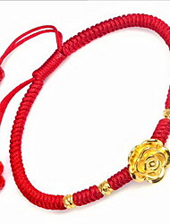 Men's Chain Bracelet Sterling Silver Gold Plated Nylon Fashion Flower Jewelry Red Jewelry 1pc