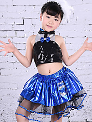 Children's Jazz Dance Dress Children's Performance Polyester Splicing 2 Pieces Sleeveless Top Skirt Royal Blue Kid's Dancewear