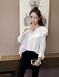 sul-coreano pequena fã de arte fresco retro babados rendas colarinho camisa de manga wawa shan tiro real