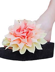 Feminino Chinelos e flip-flops Couro Ecológico Verão Casual Flor de Cetim Rasteiro Branco Preto Roxo Fúcsia Verde Rasteiro