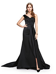 Formal Evening Dress - Elegant A-line One Shoulder Sweep / Brush Train Satin with Beading Pleats