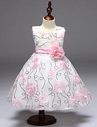 Ball Gown Knee-length Flower Girl Dress - Satin Tulle Polyester Sleeveless Jewel with Bow(s) Flower(s) Sash / Ribbon Sequins