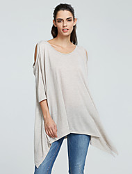 Women's Going out / Casual/Daily Simple Summer T-shirt,Solid Round Neck ¾ Sleeve Red / Multi-color Cotton Opaque / Thin
