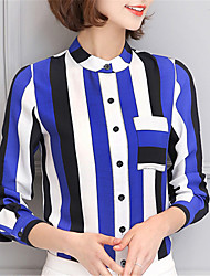Fashion Stand Up Long Sleeves Chiffon Stripe Outer Garment Daily Leisure Party Dating Occupation OL Shirt