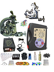 Complete Tattoo Kit G2Z12A5 2 machines liner & shader Lion LED power supply Ink Cups