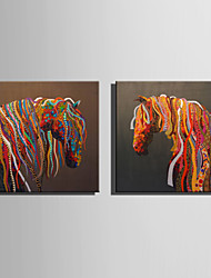 E-HOME Oil painting Modern Abstract Colored Horse Series 3 Pure Hand Draw Frameless Decorative Painting