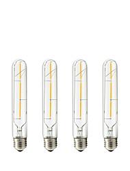 3W E27 Ampoules à Filament LED Tube 3 COB 300 lm Blanc Chaud V 4 pièces