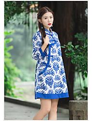 2017 modelos primavera novos botões placa nacionais vento estilo xie jin ming linho vestido de manga