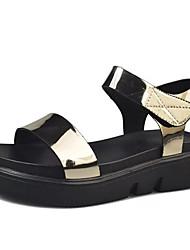 Sandals Spring Comfort PU Outdoor Flat Heel Black Silver Gold