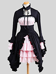 One-Piece/Dress Gothic Lolita Rococo Cosplay Lolita Dress Solid Poet Long Sleeve Long Length Dress Petticoat For Cotton