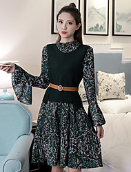 Sign new female horn sleeve chiffon floral dress knitted vest vest two-piece suit fashion