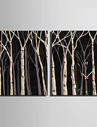 E-HOME® Wood Forest Clock in Canvas 2pcs
