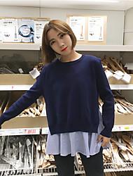 Zeichen Volants neuen koreanischen gestreiften Pullover Hemd + geteilte zweiteilige stricken Tops grundiert