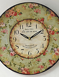 Traditional Country Antique Retro Pastoral Mute Holiday Family Wall ClockNovelty Wood Plastic 35*35 Indoor/Outdoor Indoor Clock