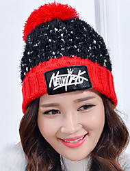Women Stretch Red English Leather Velvet Stitching Color Printing Plus Cashmere Knitting Wool Knit Outdoor Winter Hat