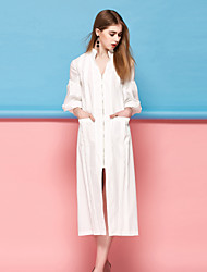 Courte Robe Femme Décontracté / Quotidien simple,Couleur Pleine Col en V Midi Manches ¾ Rose Blanc Polyester Printemps Eté Taille Normale