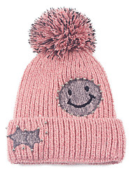Women 's Wool Autumn And Winter Smiling Face Beads Decorated  Printing Plus Velvet  Pure Color Knitted Warm Cap