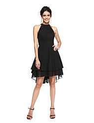 TS Couture Cocktail Party Prom Dress - Little Black Dress A-line High Neck Asymmetrical Chiffon with Pleats