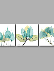 Stretched Canvas Print Three Panels Canvas Wall Decor Home Decoration Abstract Modern Blue Leaves