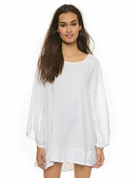 Women's Beach Boho Chiffon Dress,Solid Round Neck Above Knee Long Sleeve White Black Polyester Summer Mid Rise Micro-elastic Medium