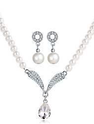 Pearl Jewelry 1 Necklace 1 Pair of Earrings Wedding Party Special Occasion Daily Casual Alloy 1set Gold Wedding Gifts