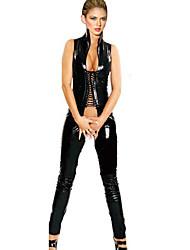 Damen Besonders sexy Teddy Nachtwäsche,Sexy einfarbig-Mittelmäßig Lackleder Schwarz