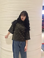 Sign beading and a half high collar fifth sleeve shirt female diamond pieces horn sleeve loose short-sleeve bottoming quite broad