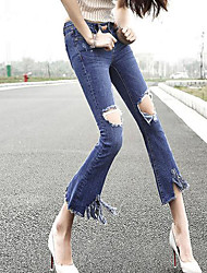 Women's Bootcut Jeans Pants,Casual/Daily Beach Vintage Solid Ripped Mid Rise Button Cotton Micro-elastic Summer