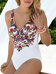 Women's Straped One-piece,Floral Spandex White