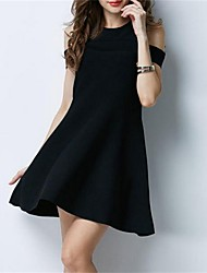 Going out Casual/Daily Sexy Loose Dress,Solid Off Shoulder Above Knee Sleeveless Rabbit Fur Blue Black Spring Summer Mid Rise