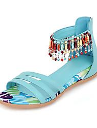Women's Sandals Summer Fall PU Outdoor Dress Casual Flat Heel Beading Zipper Black Beige Blue