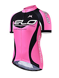 Mysenlan Cycling Jersey Women's Short Sleeve Bike Jersey Breathable Polyester Fashion Summer Blue Rose Pink