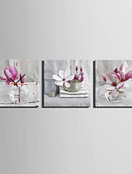 E-HOME® Pink Jade Orchid In A Glass Clock in Canvas 3pcs