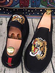 Herren Loafers & Slip-Ons paar Schuhe PU Frühling Normal paar Schuhe Elastisch Flacher Absatz Schwarz Flach