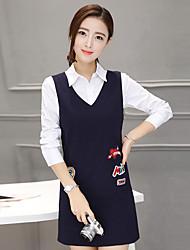 Sign shirt 2017 spring V-neck vest dress two-piece dress suit skirt new Slim skirt