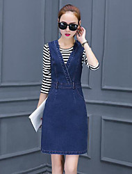Women's long-sleeved dress Autumn 2017 spring new Korean version of the influx of spring and autumn denim strap dress two-piece dress
